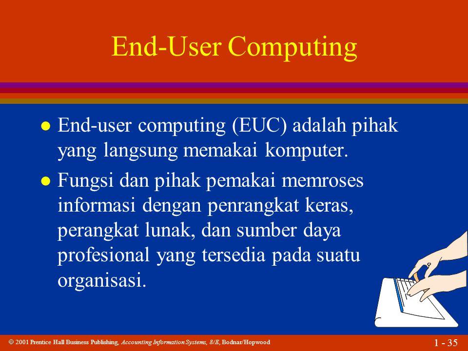End-User Computing End-user computing (EUC) adalah pihak yang langsung memakai komputer.