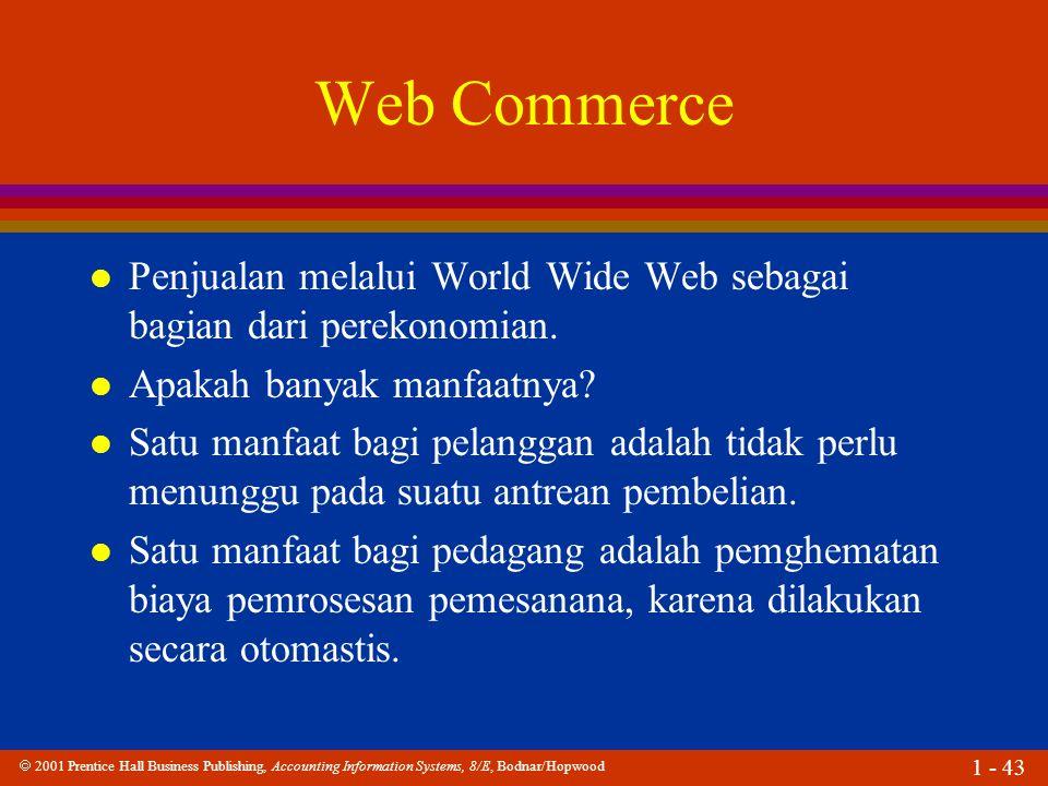 Web Commerce Penjualan melalui World Wide Web sebagai bagian dari perekonomian. Apakah banyak manfaatnya