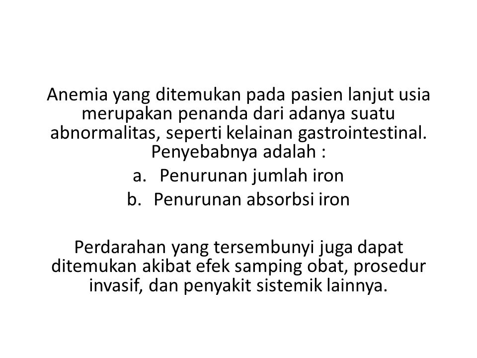 Penurunan absorbsi iron