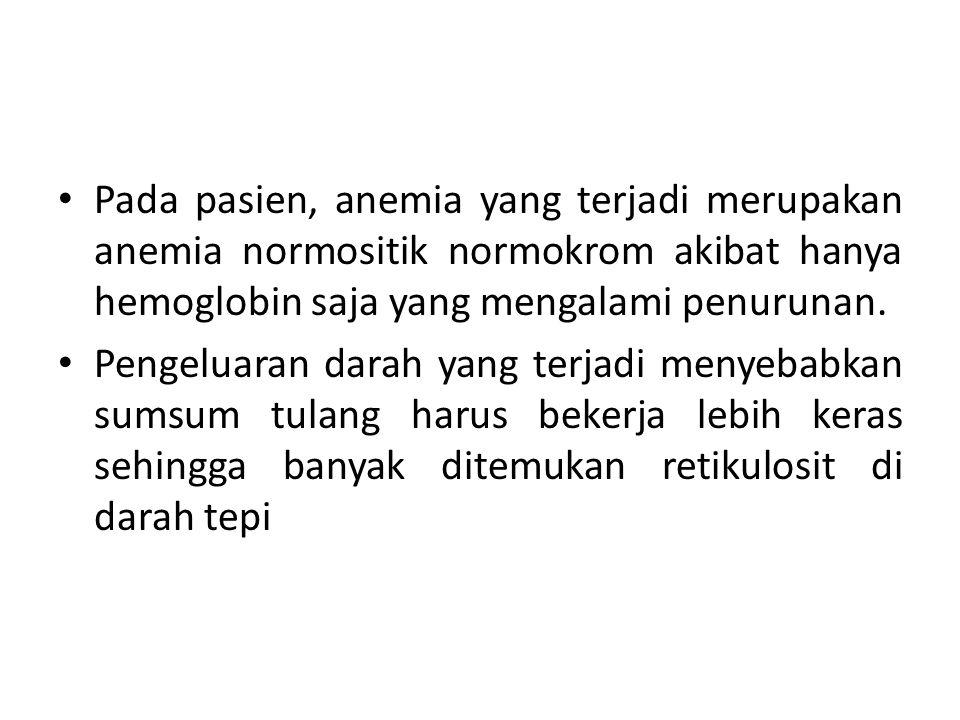 Pada pasien, anemia yang terjadi merupakan anemia normositik normokrom akibat hanya hemoglobin saja yang mengalami penurunan.