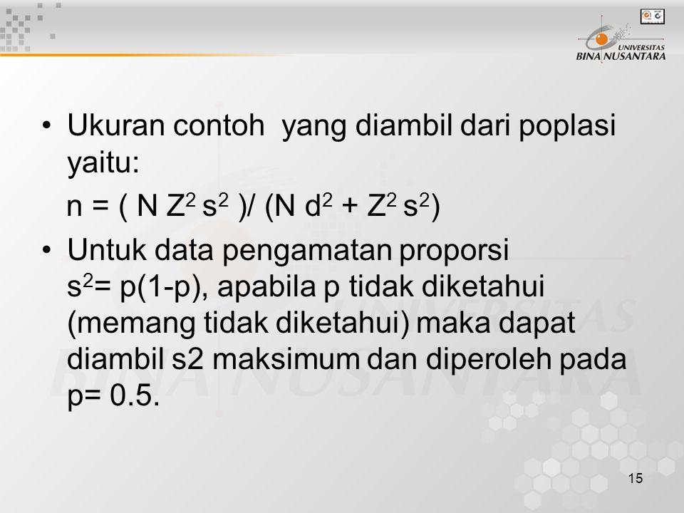 Ukuran contoh yang diambil dari poplasi yaitu: