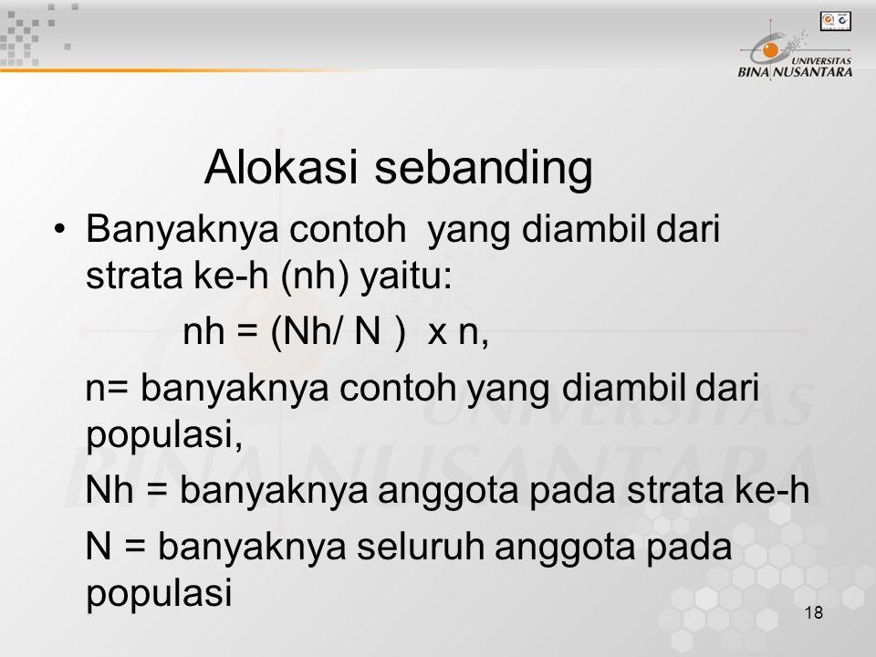 Alokasi sebanding Banyaknya contoh yang diambil dari strata ke-h (nh) yaitu: nh = (Nh/ N ) x n, n= banyaknya contoh yang diambil dari populasi,