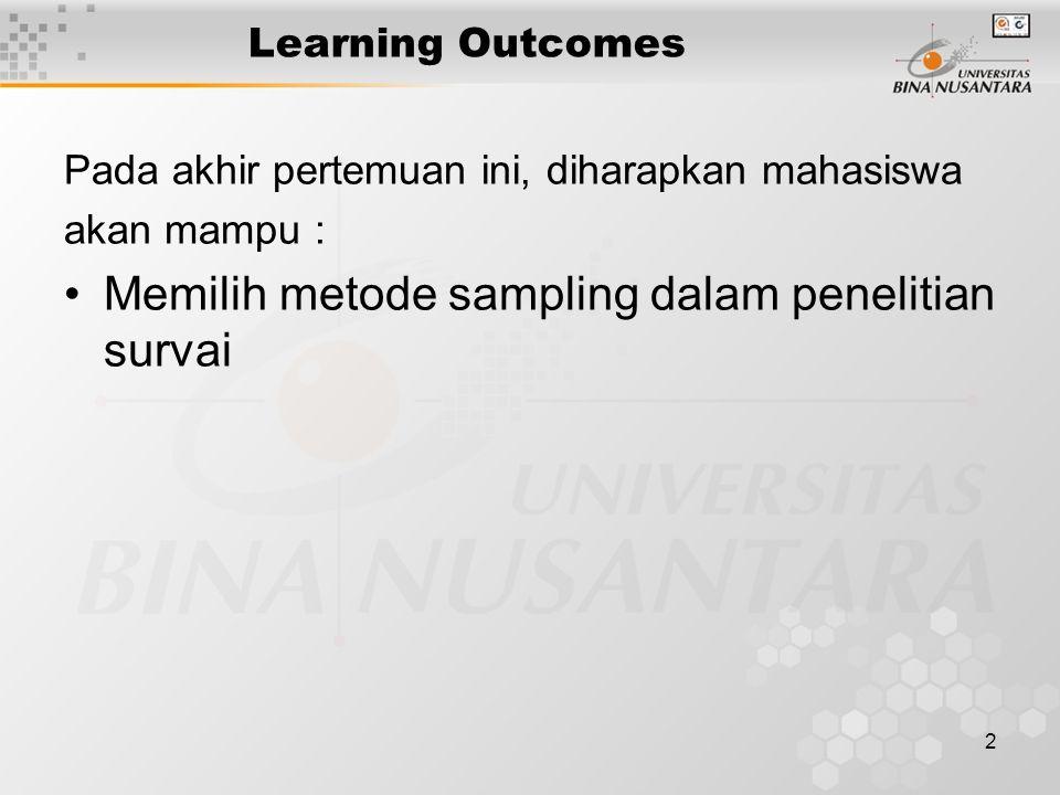 Memilih metode sampling dalam penelitian survai