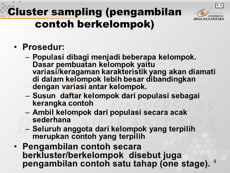 Cluster sampling (pengambilan contoh berkelompok)