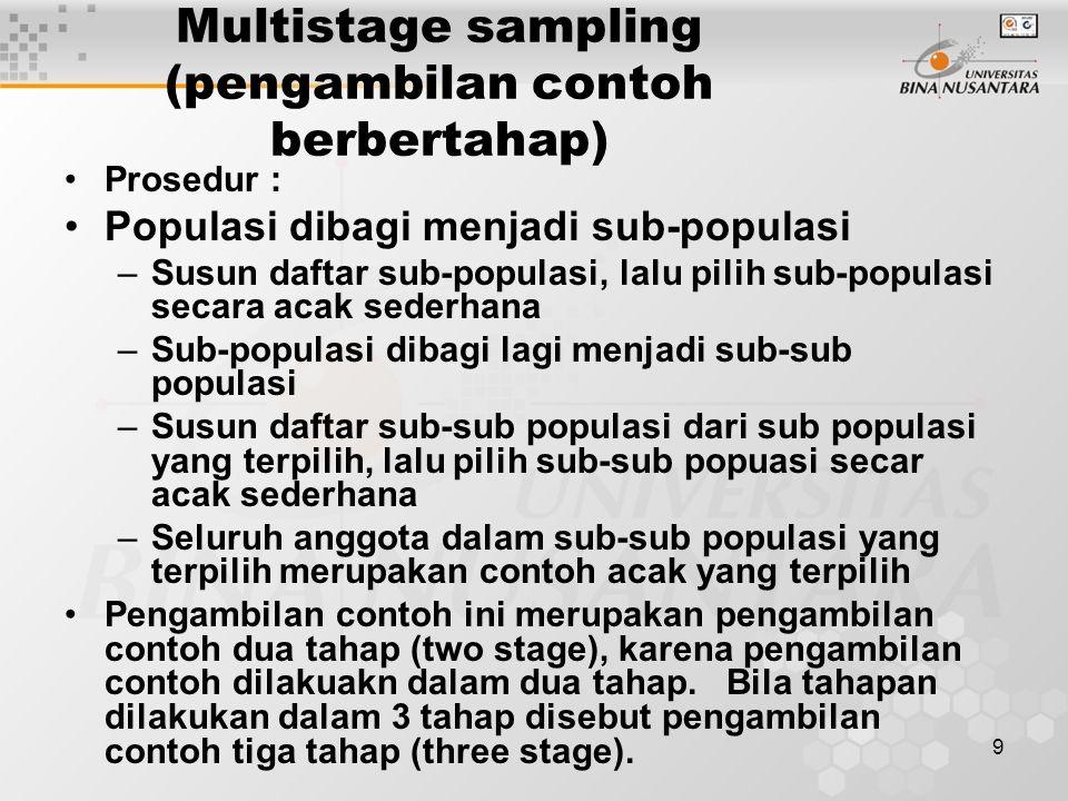 Multistage sampling (pengambilan contoh berbertahap)