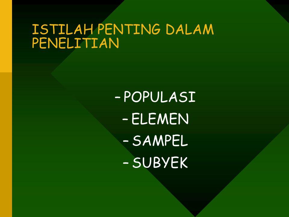 ISTILAH PENTING DALAM PENELITIAN