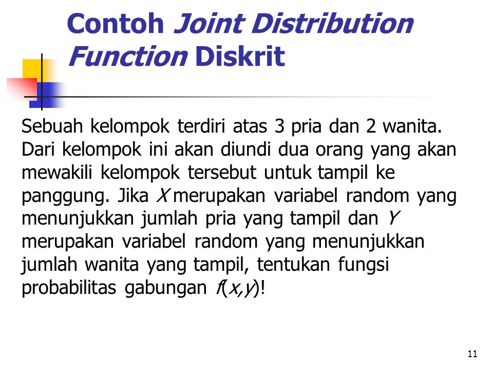 Contoh Joint Distribution Function Diskrit