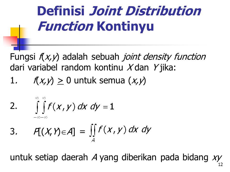 Definisi Joint Distribution Function Kontinyu