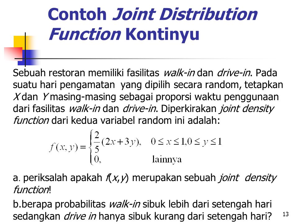 Contoh Joint Distribution Function Kontinyu