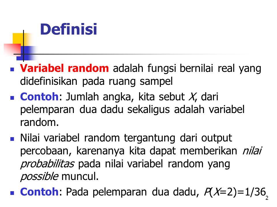 Definisi Variabel random adalah fungsi bernilai real yang didefinisikan pada ruang sampel.