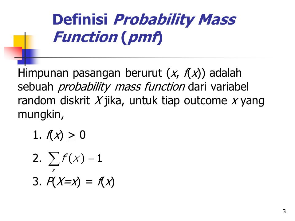 Definisi Probability Mass Function (pmf)
