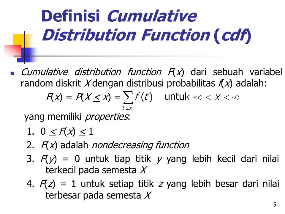 Definisi Cumulative Distribution Function (cdf)