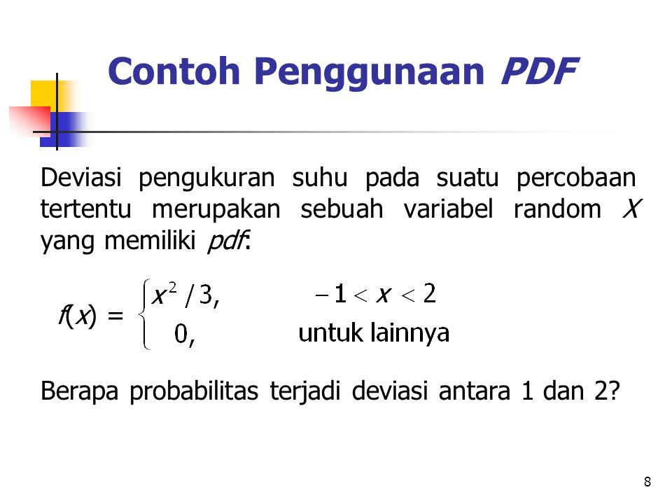 Contoh Penggunaan PDF Deviasi pengukuran suhu pada suatu percobaan tertentu merupakan sebuah variabel random X yang memiliki pdf: