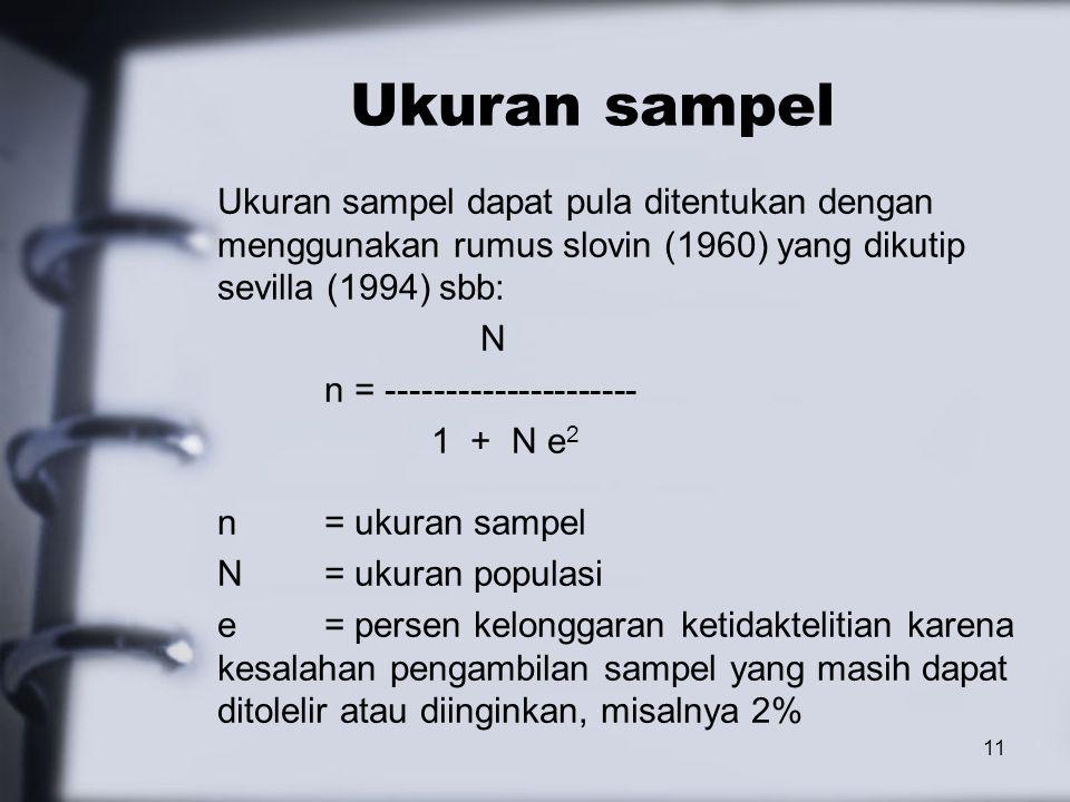 Ukuran sampel Ukuran sampel dapat pula ditentukan dengan menggunakan rumus slovin (1960) yang dikutip sevilla (1994) sbb: