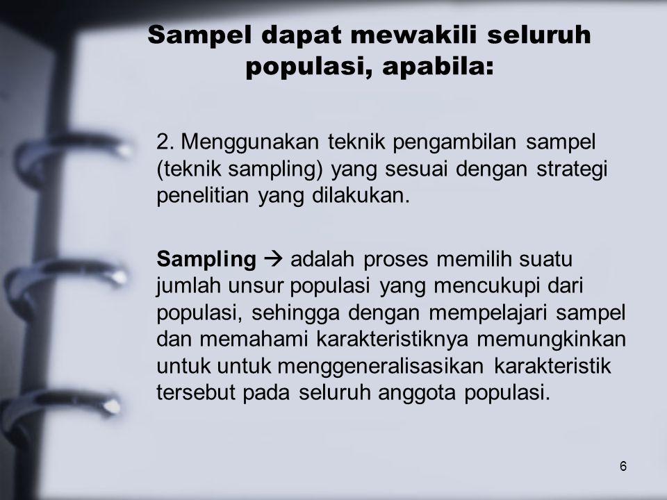 Sampel dapat mewakili seluruh populasi, apabila: