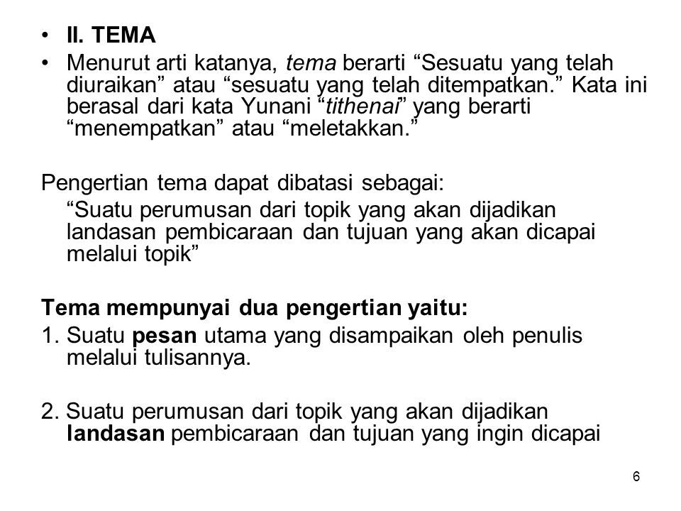 II. TEMA