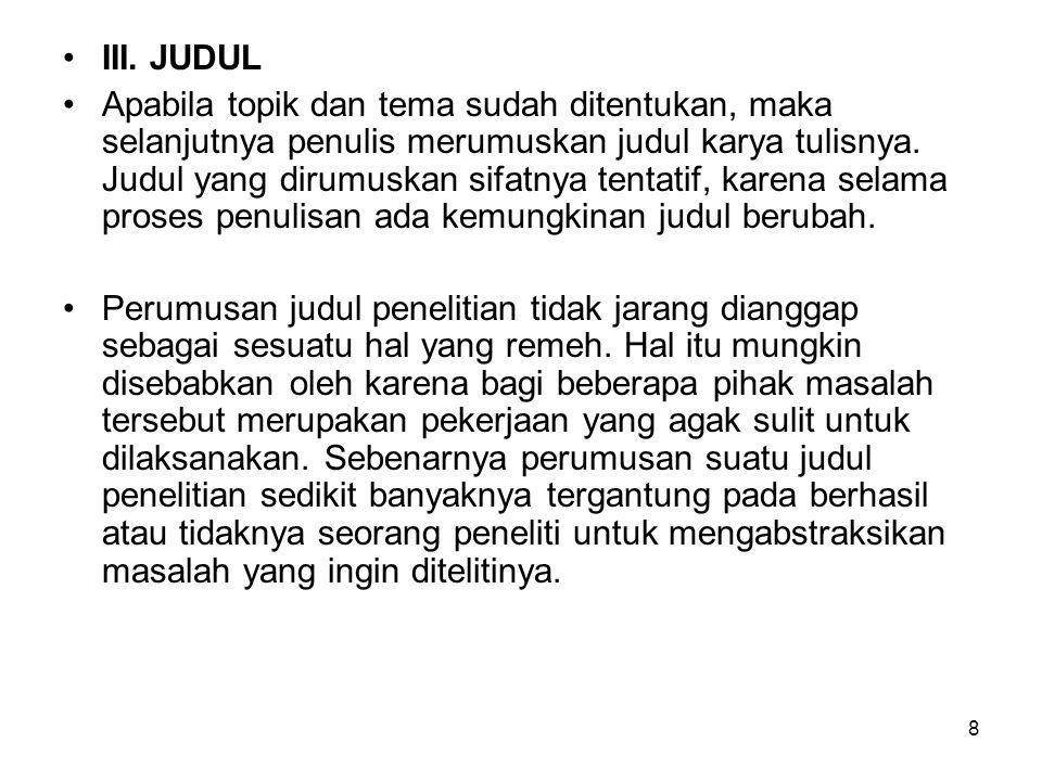 III. JUDUL