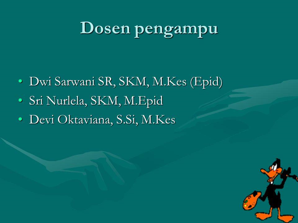 Dosen pengampu Dwi Sarwani SR, SKM, M.Kes (Epid)