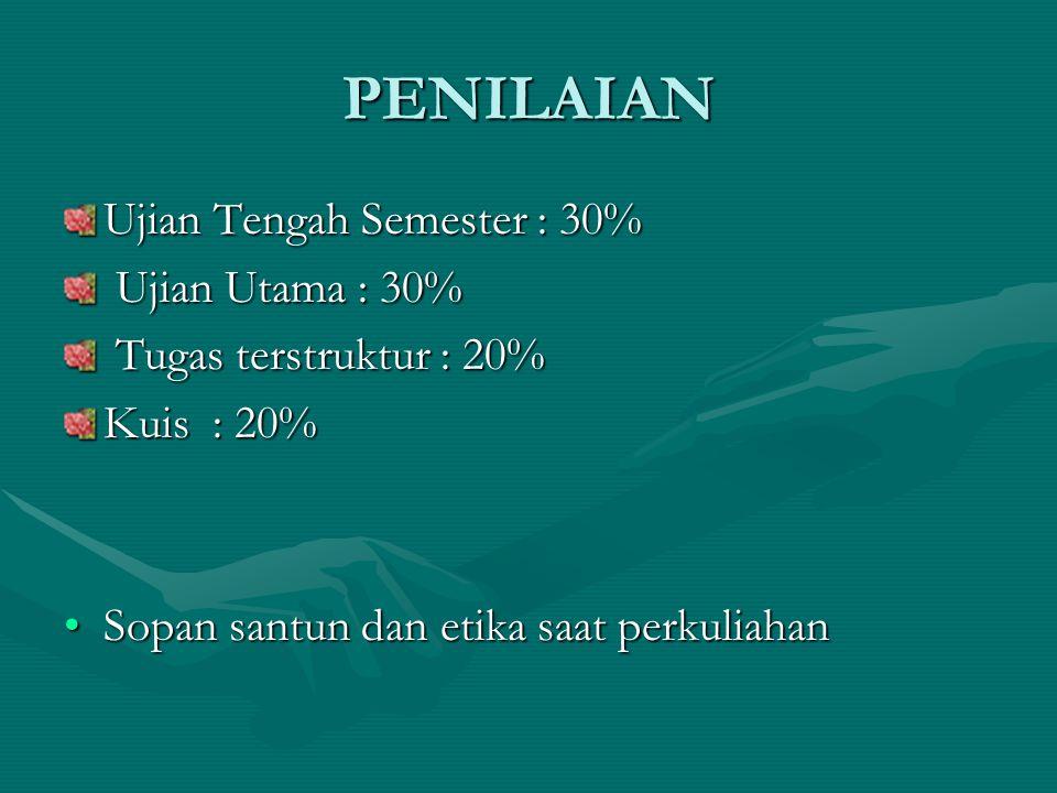 PENILAIAN Ujian Tengah Semester : 30% Ujian Utama : 30%
