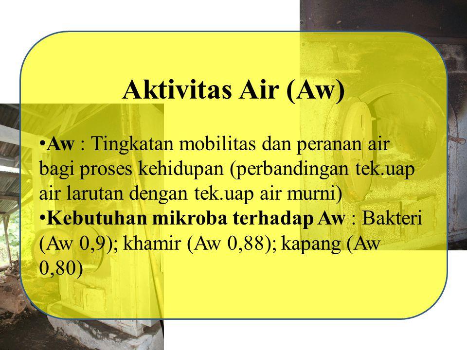 Aktivitas Air (Aw) Aw : Tingkatan mobilitas dan peranan air bagi proses kehidupan (perbandingan tek.uap air larutan dengan tek.uap air murni)