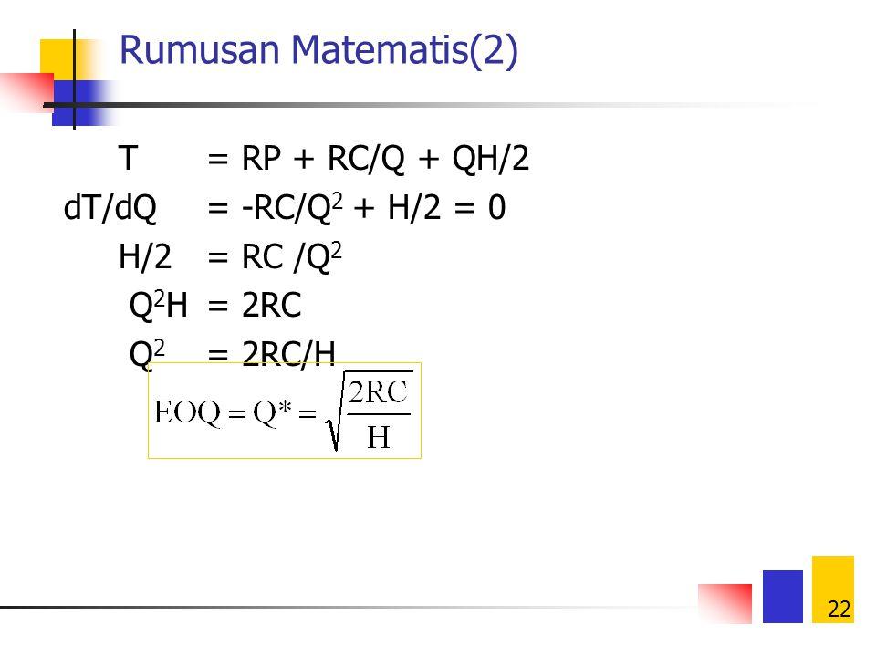 Rumusan Matematis(2) T = RP + RC/Q + QH/2 dT/dQ = -RC/Q2 + H/2 = 0