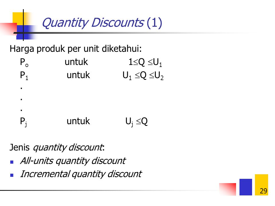Quantity Discounts (1) Harga produk per unit diketahui: