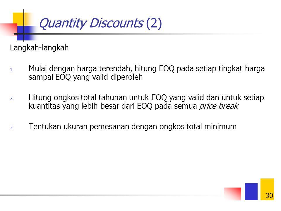 Quantity Discounts (2) Langkah-langkah