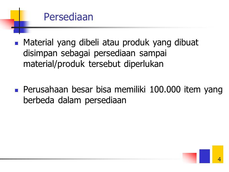 Persediaan Material yang dibeli atau produk yang dibuat disimpan sebagai persediaan sampai material/produk tersebut diperlukan.