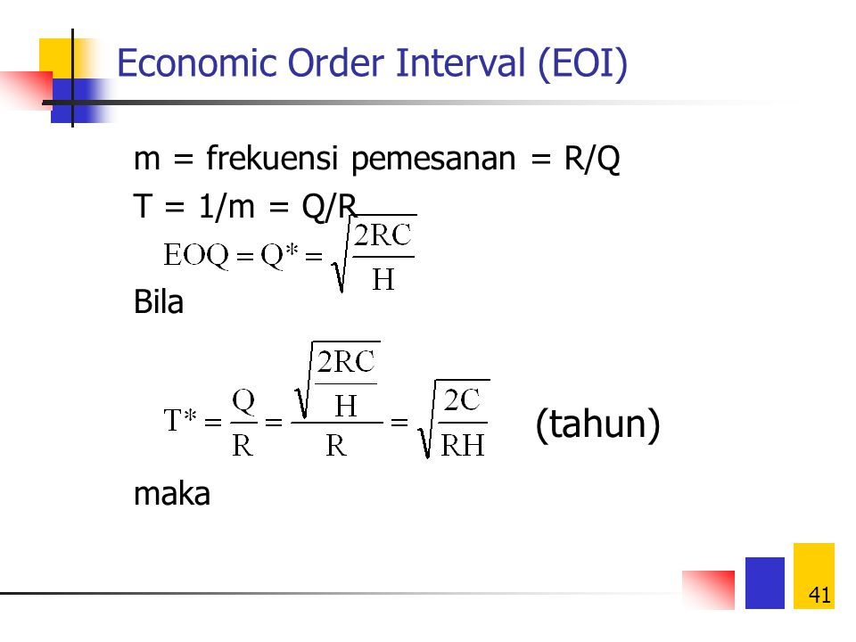 Economic Order Interval (EOI)