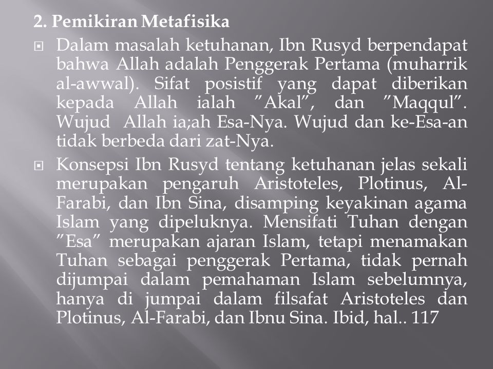 2. Pemikiran Metafisika