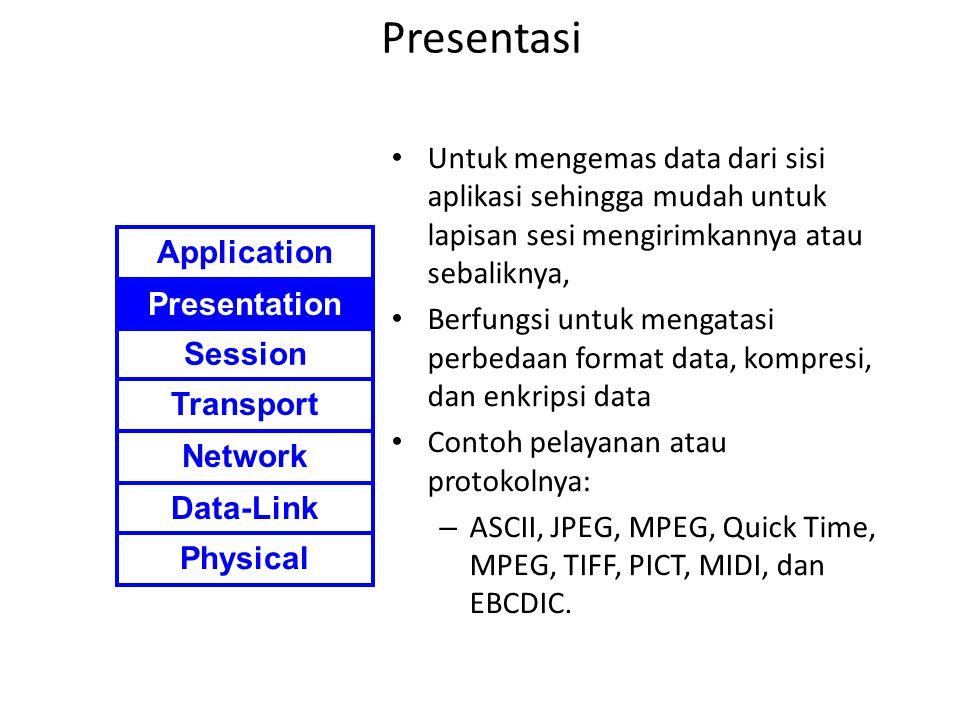 Presentasi Untuk mengemas data dari sisi aplikasi sehingga mudah untuk lapisan sesi mengirimkannya atau sebaliknya,