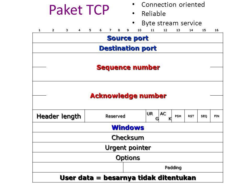 User data = besarnya tidak ditentukan