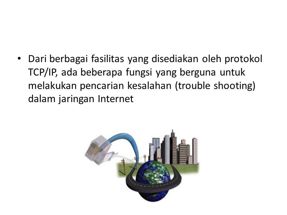 Dari berbagai fasilitas yang disediakan oleh protokol TCP/IP, ada beberapa fungsi yang berguna untuk melakukan pencarian kesalahan (trouble shooting) dalam jaringan Internet