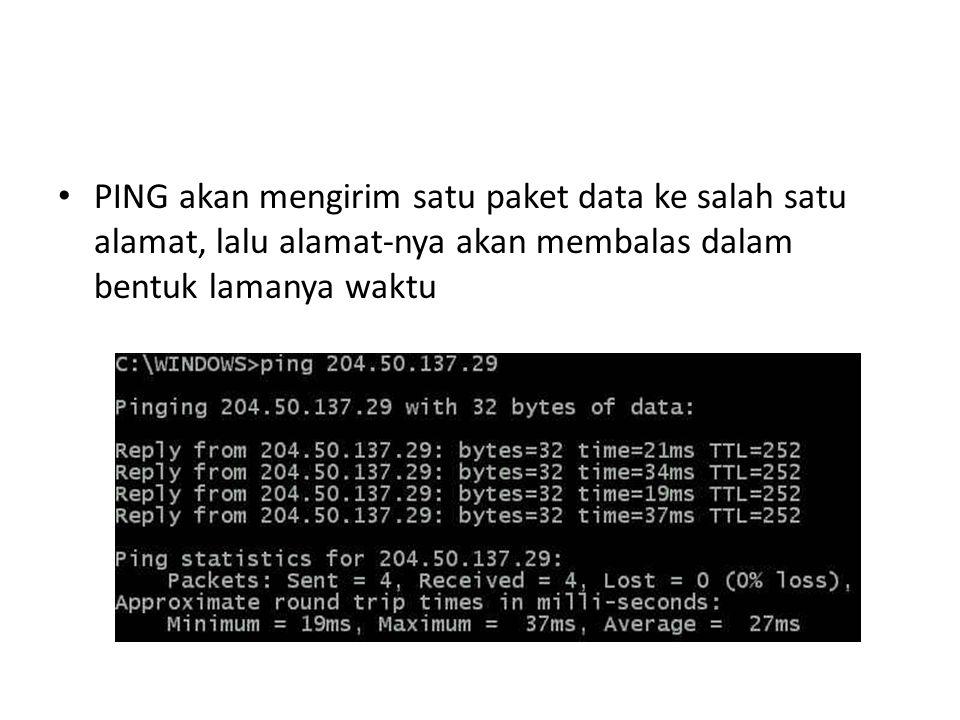 PING akan mengirim satu paket data ke salah satu alamat, lalu alamat-nya akan membalas dalam bentuk lamanya waktu
