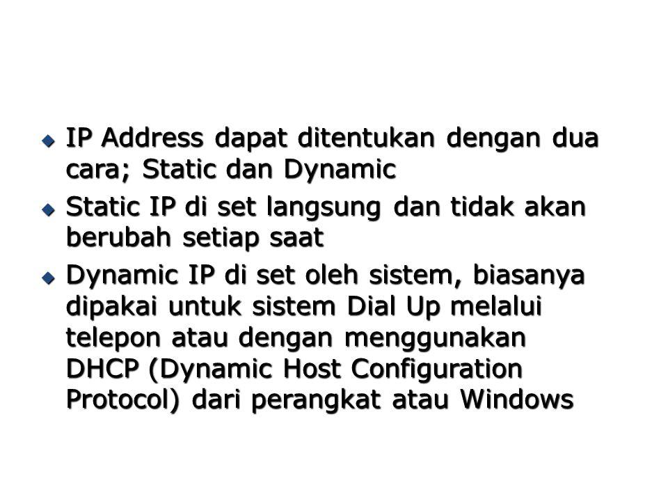 IP Address dapat ditentukan dengan dua cara; Static dan Dynamic