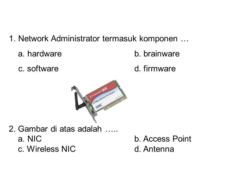 Network Administrator termasuk komponen …