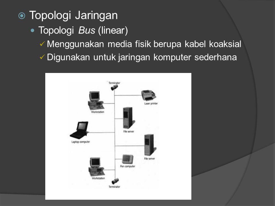 Topologi Jaringan Topologi Bus (linear)