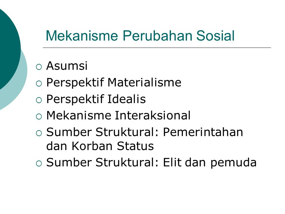 Mekanisme Perubahan Sosial