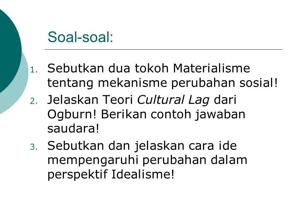Soal-soal: Sebutkan dua tokoh Materialisme tentang mekanisme perubahan sosial!