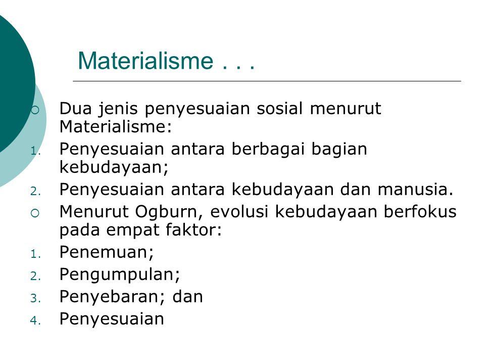 Materialisme . . . Dua jenis penyesuaian sosial menurut Materialisme: