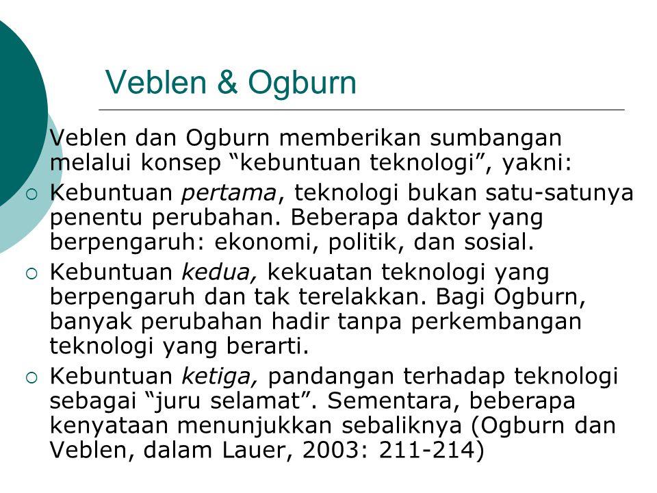 Veblen & Ogburn Veblen dan Ogburn memberikan sumbangan melalui konsep kebuntuan teknologi , yakni: