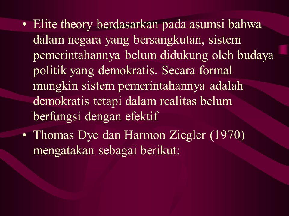 Elite theory berdasarkan pada asumsi bahwa dalam negara yang bersangkutan, sistem pemerintahannya belum didukung oleh budaya politik yang demokratis. Secara formal mungkin sistem pemerintahannya adalah demokratis tetapi dalam realitas belum berfungsi dengan efektif