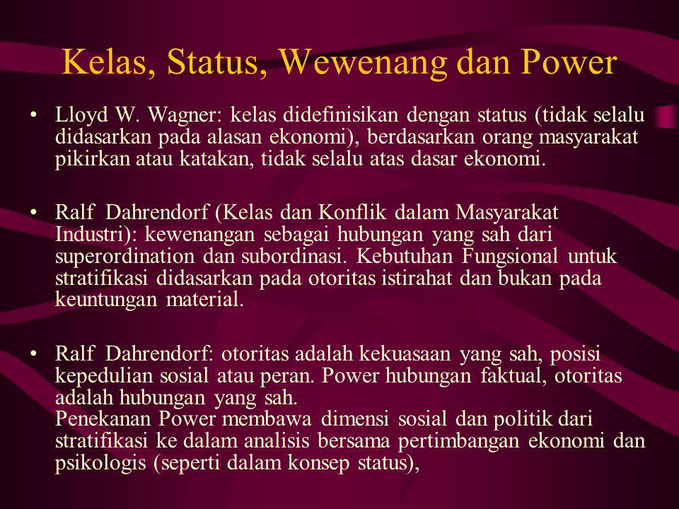Kelas, Status, Wewenang dan Power