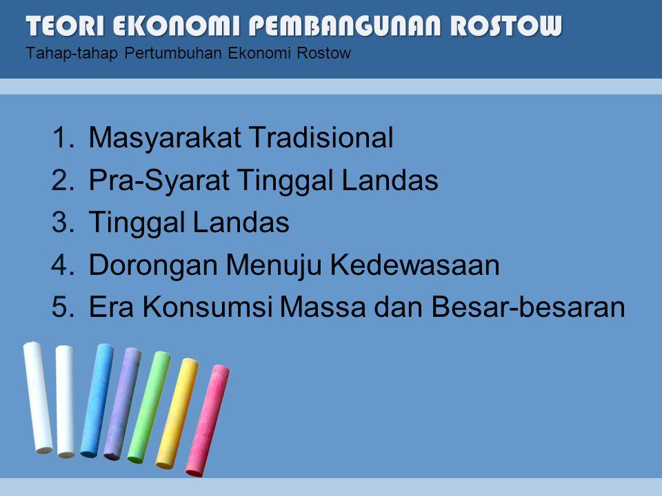 TEORI EKONOMI PEMBANGUNAN ROSTOW Tahap-tahap Pertumbuhan Ekonomi Rostow