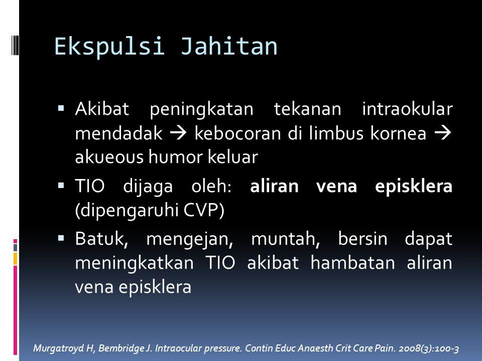 Ekspulsi Jahitan Akibat peningkatan tekanan intraokular mendadak  kebocoran di limbus kornea  akueous humor keluar.