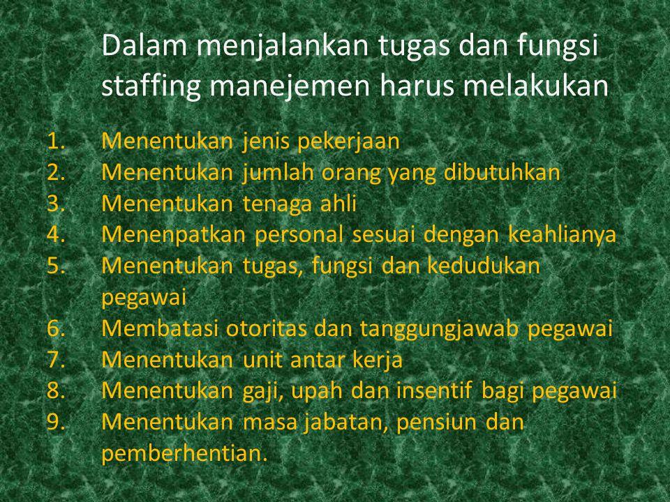 Dalam menjalankan tugas dan fungsi staffing manejemen harus melakukan