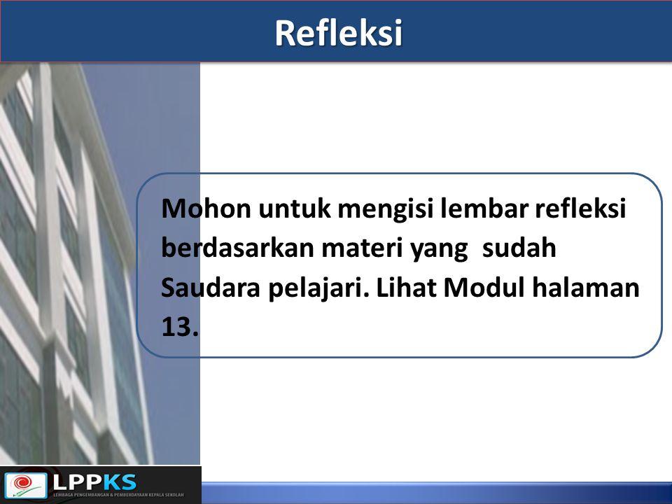 Refleksi Mohon untuk mengisi lembar refleksi berdasarkan materi yang sudah Saudara pelajari.