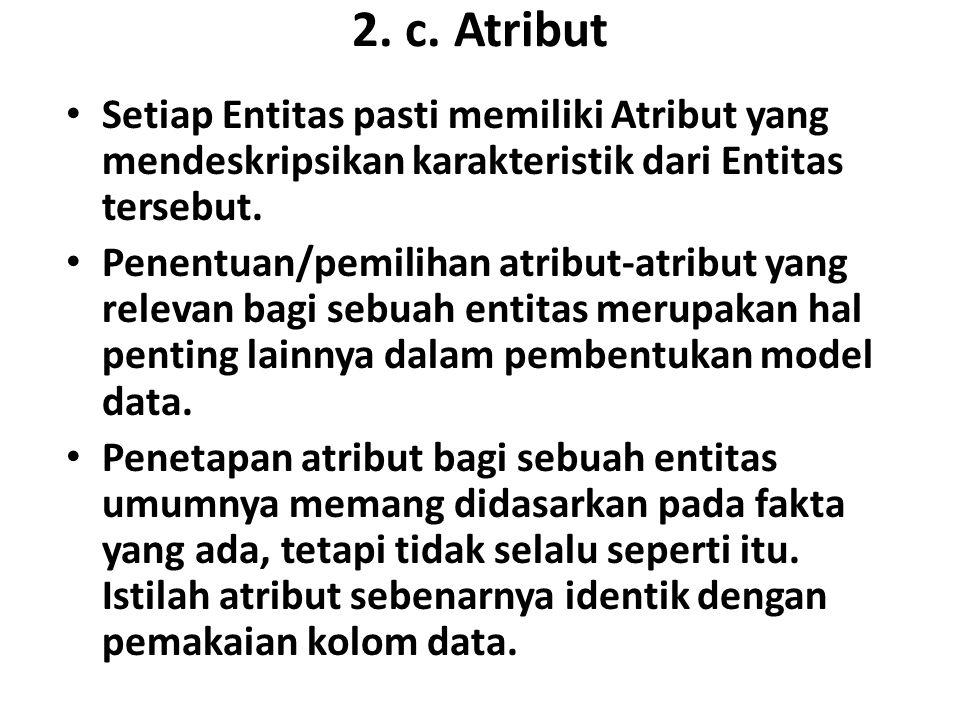 2. c. Atribut Setiap Entitas pasti memiliki Atribut yang mendeskripsikan karakteristik dari Entitas tersebut.