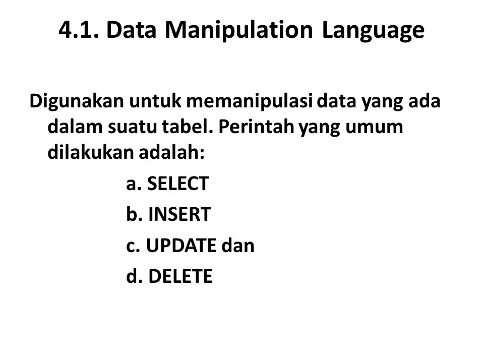 4.1. Data Manipulation Language