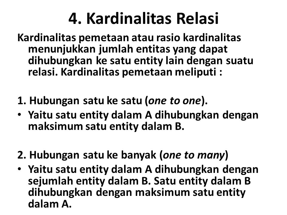 4. Kardinalitas Relasi